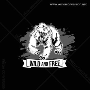 wild and free bear tshirt design